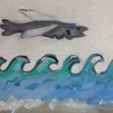 Douanehuisje juli: Golven maken de zee